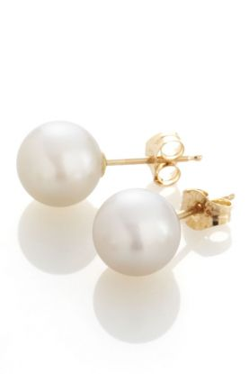 7mm Classic Gold Round Pearl Earrings