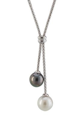 """17"""" sterling silver necklace with creamy white south sea pearl & black tahitian pearl 9mm"""
