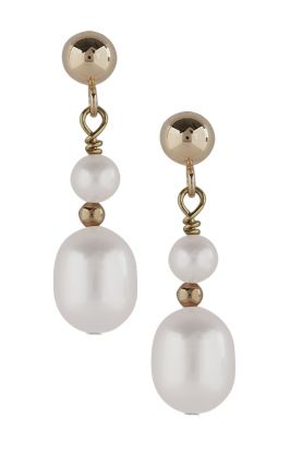 9ct Gold Double Pearl Earrings