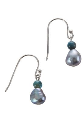 Pearl & Blue Apatite Earrings