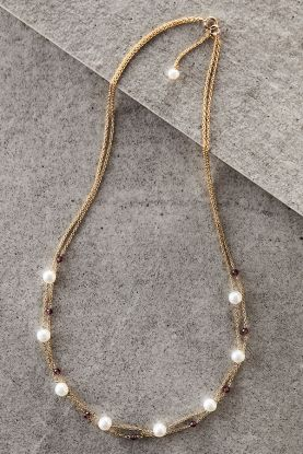 Double Chain Pearl & Garnet Necklace