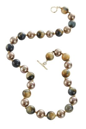 """19"""" Tigers Eye & Mother of Pearl Necklace"""