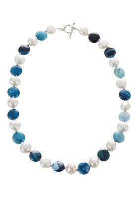 Pearl & Blue Agate Necklace