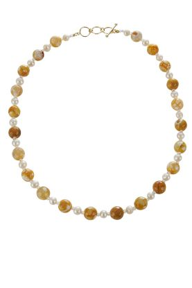 "19"" Pearl & Yellow Agate Necklace"