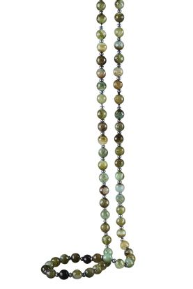"""36"""" Pearl & Green Agate Necklace"""