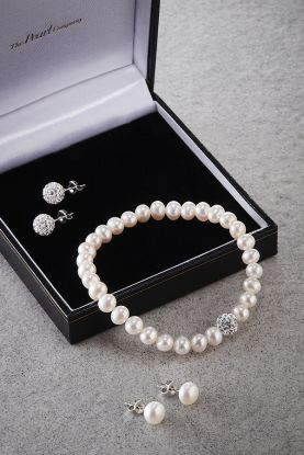 Pearl Bracelet & Earrings Gift Set
