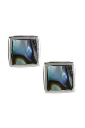 6mm square, Abalone Square Earrings.