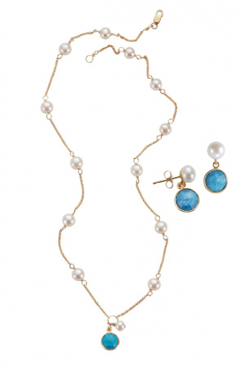 Pearl & Turquoise Gemstone Necklace & Earrings Set