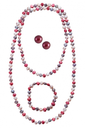 Berry Pearl Rope Necklace, Bracelet and Stud Earrings Set.
