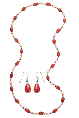 Carnelian & Pearl Necklace and Earrings set.