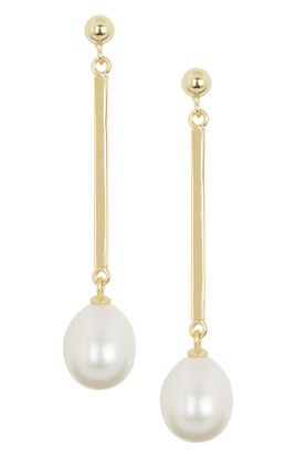Pearl Earrings With Gold Bar