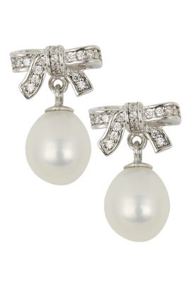 Pearl Sparkle Bow Earrings