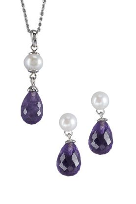 Faceted Amethyst & Pearl Pendant Set