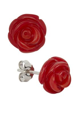 Bamboo Coral Rose Earrings