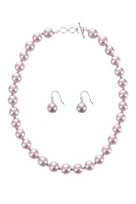 Lilac Mother of Pearl Necklace & Earrings Set