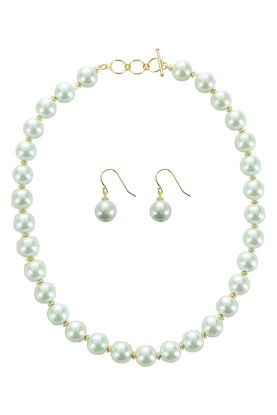 """18"""" mother of pearl necklace  & earrings in mint green"""