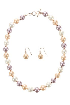 Peach Mother of Pearl Necklace & Earrings Set