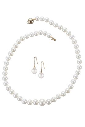 Graduated Pearl Necklace & Round Pearl & Diamond Earrings Set