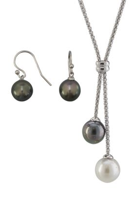 Night & Day Pearl Necklace & Earring Set