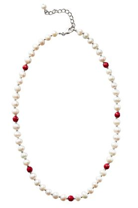 Pearl & Bamboo Coral Necklace