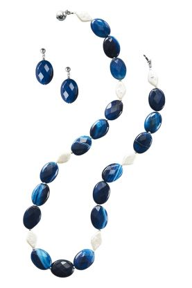 Blue agate & Pearl Necklace set