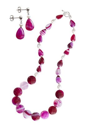 Pink Agate & Pearl Necklace & Earrings Set