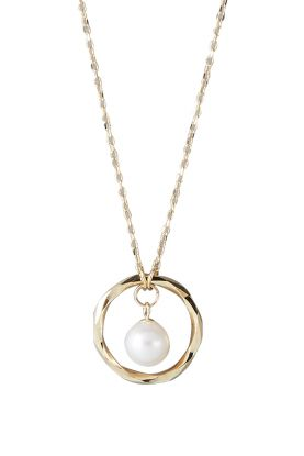 Faceted Gold Pearl Pendant