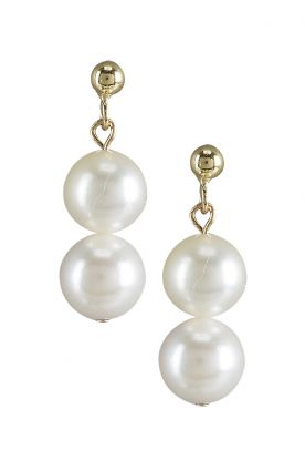 Double Akoya Pearl Earrings 7mm white pearls with 18ct gold earrings