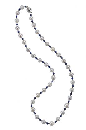 """18"""" Lapis & Pearl Necklace 7mm freshwater pearls & lapis"""