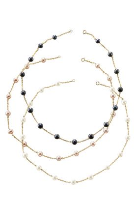 Gold Plate Pearl Chain Necklace