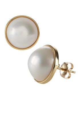 18ct Gold Mabe Pearl Earrings