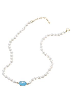 Oval Pearl & Chalcedony Necklace
