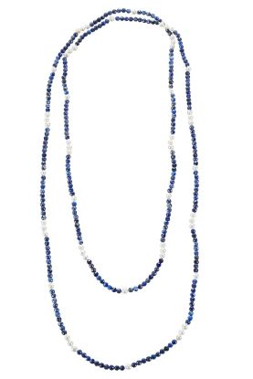 Faceted Lapis & Pearl Necklace