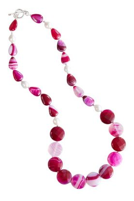Pink Agate & Pearl Necklace