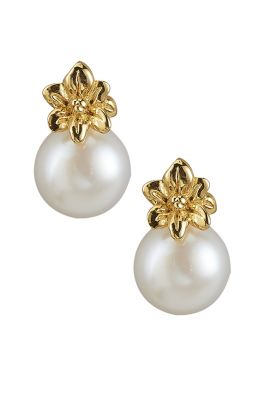 18ct Gold Plated Silver Flower Pearl Earrings