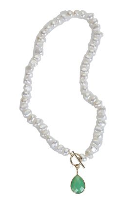"""18"""" Pearl Necklace with Green Onyx Drop"""