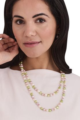 """44"""" apple green Pearl Necklace"""
