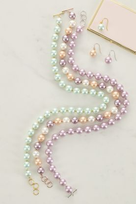 "18"" Mother of Pearl Necklace in mint, lilac and mixed peach"