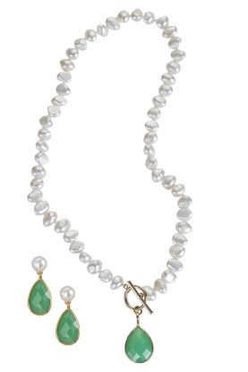 Pearl Necklace With Green Onyx Drop & Earrings Set