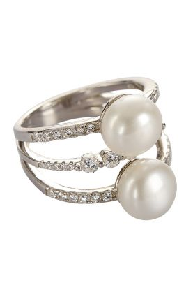 Double Pearl Sparkle Ring