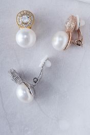 Crystal Circle Pearl Clip-on Earrings