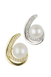 Pearl Crystal Curve Earrings