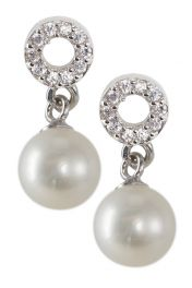 Sparkle Circle Pearl Earrings