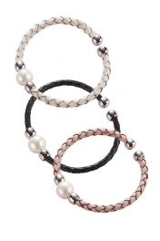 Leather Band Pearl Bracelet