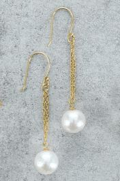 Double Chain Pearl Earrings