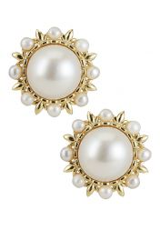 Golden Flower Pearl Earrings with 2mm & 10mm pearls