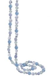 """44"""" Pearl & Blue Chalcedony Necklace"""